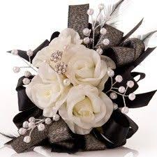 black and white corsage black chagne silk prom corsage and boutonniere set by