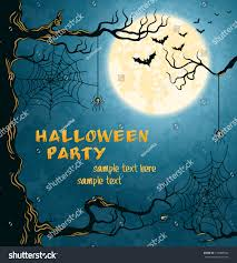 horror card halloween blue background full stock vector 150489920