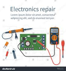 electronics repair tester checking multimeter isolated stock