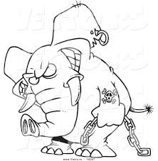 vector of a cartoon evil elephant carrying a chain outlined