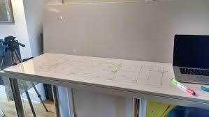 standing dual whiteboard desk workbench simple ikea hack album