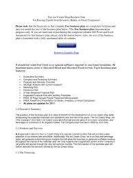 How To Build A Business Plan Template Free Ice Cream Shop Business Plan Business Plan Retail