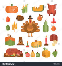 set colorful flat geometric icons thanksgiving stock vector