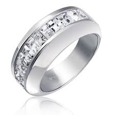 modern mens wedding bands sterling silver wedding band modern invisible cut cz unisex mens