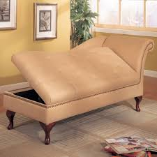 Red Leather Chaise Lounge Chairs Brown Stained Wooden Leg With Cream Leather Seat Built In Hidden