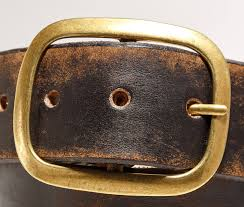 Handmade Belts And Buckles - vintage distressed leather belt with brass buckle regan flegan