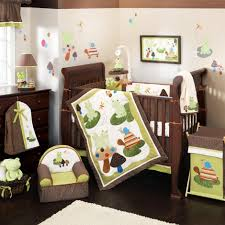 cool nursery bedding sets jungle theme with brown and white