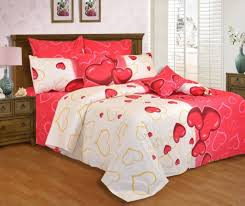 Red And White Bedroom Red And White Heart Printed Bedding And Solid Wooden Bed Frame For