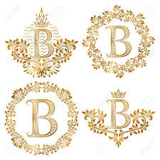 monogram letter b golden letter b vintage monograms set heraldic monogram in coats