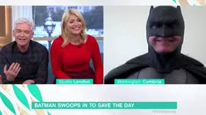 lucy and anna decinque before holly willoughby in stitches over interview with batman and a