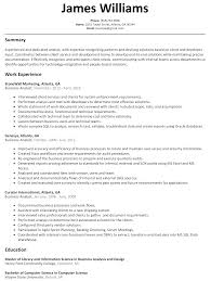 Resume Samples With Summary by Business Analyst Resume Sample Resumelift Com