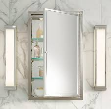 Polished Nickel Bathroom Accessories by Framed Lit Left Opening Inset Medicine Cabinet Comes Right Opening