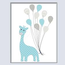 chambre la girafe girafe ballon illustration decoration chambre garçon bébé enfant