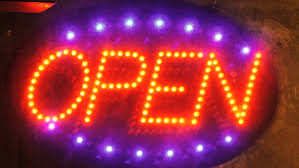 shop open sign lights illuminated flower shop sign in storefront window stock footage