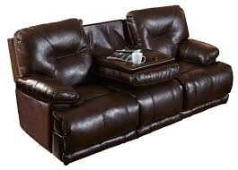 leather lay flat reclining sofa with drop down table by catnapper