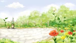 cartoon flower garden walldevil