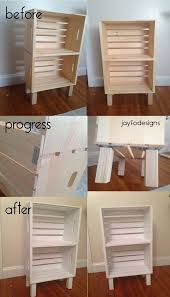 diy crate shelf book case end table night stand wooden storage