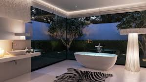 bathroom modern luxury bathroom rainfall shower blue neon light