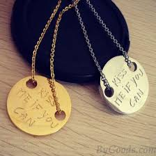 coin pendant necklace jewelry images Kiss me if you can letter titanium steel coin pendant necklace jpg