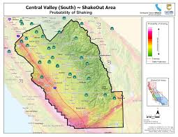 Seismic Risk Map Of The United States by The Great California Shakeout Central Valley South Area