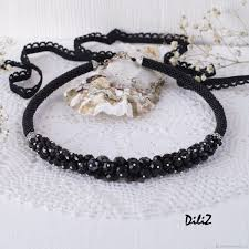 beads necklace handmade images Beaded necklace with black crystals shop online on livemaster jpg