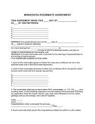 Cleaning Service Agreement Template Free Minnesota Roommate Agreement Form Pdf Word Eforms
