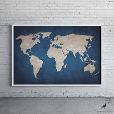 World Map Art Print by Navy Blue Rustic World Map Print Old World Map Indigo Cobalt Blue