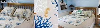 fantastic bedding made with coastal coral fabric from brickhouse