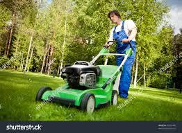 lawn mower man working on backyard stock photo 56935489 shutterstock