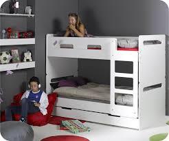 chambre fille avec lit superposé pack lit superposé enfant blanc 90x190 cm avec 2 matelas
