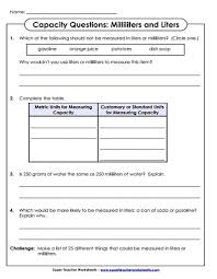 measuring capacity milliliters and liters worksheets