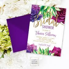 floral foil succulents bridal shower invitation purple and green succulent