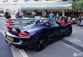 blue porsche spyder porsche 918 spyder weissach package 21 april 2017 autogespot