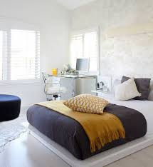 Minimalist Bed Bedrooms Minimalist Bedroom With Modern Bed Also Gray Fluffy Rug