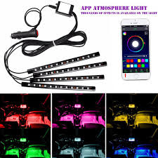 app controlled car lights new 12 led interior car lights car styling wireless app music