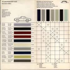 thesamba com gallery vw type 3 and karmann ghia color charts