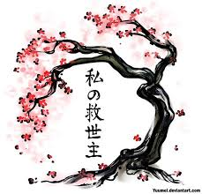 cherry blossom japanese writing pencil and in color