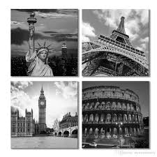 2017 contemporary art famous buildings grey canvas print wall art