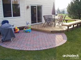 wood deck with brick patio in lake zurich illinois patio ideas
