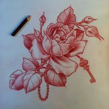 rose tattoo design with key best tattoo designs