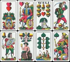 german cards the suits are hearts bells diamonds