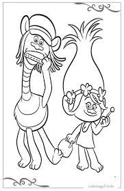 Coloriage Les trolls Poppy et Cooper dessin gratuit à imprimer