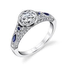 sapphire accent engagement rings unique vintage engagement ring with sapphire accents