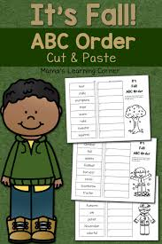 fall cut and paste abc order worksheets mamas learning corner