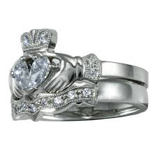 wedding ring sets uk 14k white gold claddagh diamond engagement ring wedding ring set