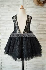 black lace tulle v open back wedding flower dress with flower