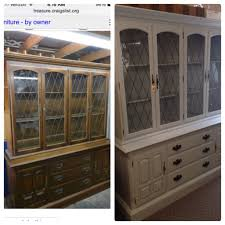 before and after chalk painted ethan allen china cabinet my own