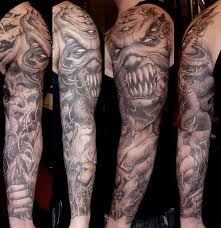 creepy and scary black and white skull on arm