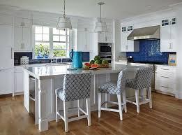 Beach Cottage Kitchen by White Beach Cottage Kitchen With Cobalt Blue Subway Tiles
