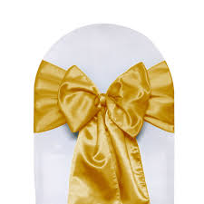 gold chair sashes gold satin chair sashes for weddings